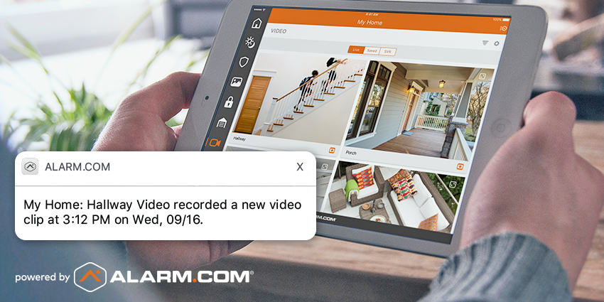 watching home security cameras with a tablet in Florida